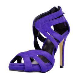 Cinturino in tacco blu royal online-Royal Blue Open Toe tacco alto donne sandalo tacchi alti cinturino a croce scava fuori scarpe estive donne 2017 nuove scarpe Cina