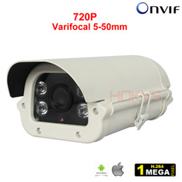 Wholesale Array Networks - 5-50mm Varifocal Lens Network Security CCTV IP Camera Outdoor H.264 720P Infrared Array LEDs Weatherproof for Video Surveillance