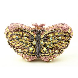 Wholesale Outlet Designer Bags - Pink Butterfly Evening Bags Cocktail Crystal Clutches Outlet Cheap Special Occasion Bags Discount Designer Purses for Weddings