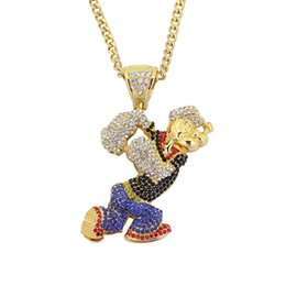 Wholesale Hip Hop Ice Out Pendant - Bling Bling Iced Out Large Size Cartoon Movie Crystal pendant Hip hop Necklace 30inch stainless steel cuban chain N634B
