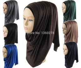Wholesale Glitter Shawls Scarves - Wholesale-(12 pieces lot) muslim jersey shimmer hijab women's fashion glitter shawl scarf hijabs JLS122