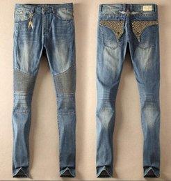 Wholesale Black Rhinestone Pants - Mens Designer Jeans Men Biker Jeans Famous Brand Crystal Studded Pants Denim with Wings American Flag Rhinestone Jeans Trousers Plus Size