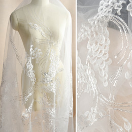 Wholesale Needle Punch Fabric - White Peacock wings glitter fabric embroidery lace wedding dress gauze clothing decoration materials DIY accessories mesh fabric formal dres