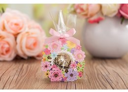Wholesale Pink Ribbon Favors - Colorful Hollow Out Flower Wedding Candy Boxes Wedding Favors Holder Pink Ribbon Bow Chocolate Gift Case Festival & Events Supplies 50Pcs
