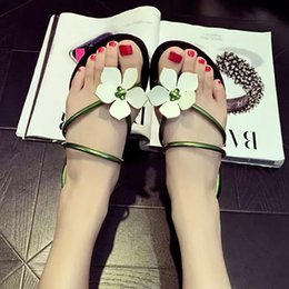 Wholesale Vacation Sandals - Hot New Fashion Simple Flower Women Slippers Flat Shoes PU Beach Flip Flops Sandals for Girls Vacation
