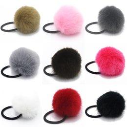 Wholesale Diamond Ponytail Holders - 2017 New Artificial Rabbit Fur Ball Elastic Hair Rope Rings Ties Bands Ponytail Holders Girls Hairband Headband Hair Accessories