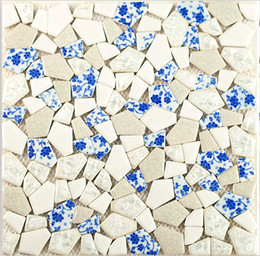 Wholesale Mosaic Tile Backsplash - Glossy ceramic mosaic tiles mixed blue and white porcelain, irregular shape tiles kitchen backsplash bathroom ceramic mosaic tiles,LSSP08