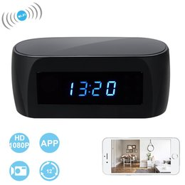 Wholesale Spy Clock 32gb - 32GB Memory WIFI Hidden Clock Camera Spy Camera Alarm Clock 1080 HD Night Vision Security Camera Nanny Recorder DV DVR PQ283