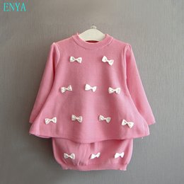 Wholesale Girls Over Coat - Wholesale- 2016 Winter fall knitted sweater clothes set for kids girl pink knitted bow decor pull over coat and pencil skirt clothing set