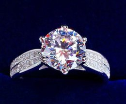 Wholesale Rectangle Crystal Ring - Newest Princess rectangle diamond ring platinum plating ms roundness diamond ring micro diamond ring two styles