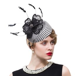 Wholesale Black White Striped Weddings - Womens Sinamay Raffia Fascinator Cocktail Party Lace Feather Black White Rope Wedding Kentucky Derby Hat T245
