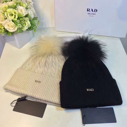 Wholesale Mink Cashmere Knitting Yarn - Luxury Brand winter wool knitted hat beanies real mink fur pom poms Skullies hat for women girls hat feminino