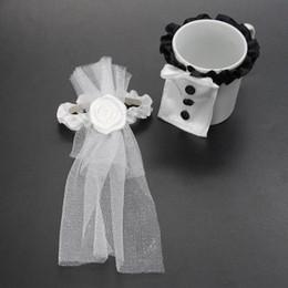 Wholesale Bride Groom Wine Glasses - Elegant And Beautiful design 2 PCS Bride & Groom Tux Bridal Veil Wedding Party Toasting Wine Glasses Decor