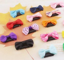 Wholesale Little Girls Hair Bows - 10piece lot Cute Polka Dot Strawberry Printed Flower Infant Baby Mini Small Bow Hair Clips Hairpins Little Hair Kids Girls Hair Accessories