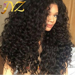 Wholesale Hair Tie Wigs - Lace Front Wigs 130% Density Swiss Lace Hand Tied Pure Color Deep Curly Full Lace Wigs Brazilian Indian Malaysian Peruvian Hair