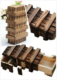 Wholesale Bamboo Dragonfly - Decoration Crafts Figurines Miniatures ladylook Magic Compartment Wooden Puzzle Box With Secret Drawer Brain Teaser