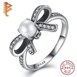 Wholesale White Pearl Finger Ring - BELAWANG Silver Bow-Knot Finger Ring with White Simulated Pearl&Clear CZ Real 925 Sterling Silver Delicate Original Engagement Ring For Lady