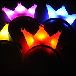 Wholesale Horn Hair - LED Flash Light Emitting Hairpin Bow Hair Bands Horn Flash LED Hair Clip Mickey Bands Crown Hair Bands Flash Hairpin Headband Halloween LED