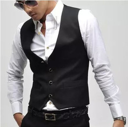 waistcoats v neck for suit Coupons - Wholesale- new version V neck vest men wholesale casual gilet Single breasted vests leisure suit for men colete black waistcoat