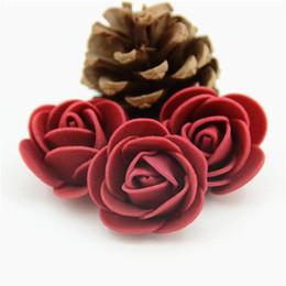Wholesale Diy Artificial Mini Foam Flower - 50pcs lot Wine Red Mini PE Foam Rose Flower Head Artificial Rose Flowers DIY Wedding Home Decoration Festive Party Supplies