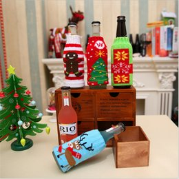 Wholesale Short Plastic Bottles - 2017 Brand New Christmas Knitted Beer Bottle Cover Perfect Beer Bottle Decoration With Four Styles Optional