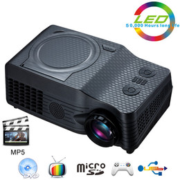 Wholesale Portable Projector Dvd Tv - Wholesale-Home Theater Full HD native 1080P Video Portable proyector EC-539A projector With DVD,FM,RMVB(MP5),TV,GAME,USB,TF Card,AV IN