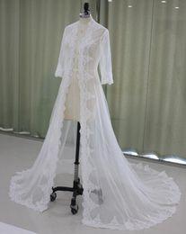 Wholesale Tulle Bridal Shrug Long Sleeve - 2017 Lace Bridal Jackets Long Sleeves Bridal Coat Sweep Train Wedding Capes Wraps Bolero Jacket Wedding Dress Wraps Shrugs EN9145
