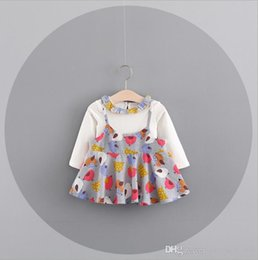 Wholesale Dresses Fake - 3 color INS Korean styles new arrival Girl dress kids spring autumn Cartoon birds printed Fake two pieces Cotton Dress girl casual dress
