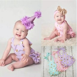Wholesale Dress Polka Dot Pink Girls - Summer Infant Clothing 3 color Toddler Baby Gold Polka Dots Romper Dress Baby Girls Sleeveless Princess Birthday Dresses Jumpsuits A080