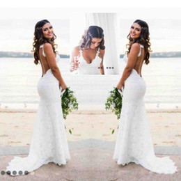 Wholesale Open Back Lace Wedding - Romantic Lace Mermaid Wedding Dresses Sweetheart Open Back Country Wedding Gowns Plus Size Cheap Price Sweep Train