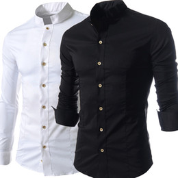 Wholesale High Collar Dress Shirt Men - Solid Stand Collar Man Shirts Long Sleeve Single Breasted Leisure Dress Shirts Men Clothing Spring Fall Tops Business Shirt High Quality