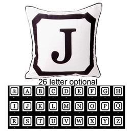 Wholesale Cm Hospital - Wholesale- 45*45 cm Decorative Initial Letter White Throw Pillow Case Wedding Gifts 26 Upper Case Letters