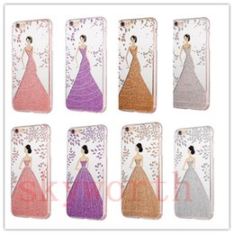 Wholesale Glitter Dress For Girls - For iPhone 7 Plus 5 6 6S Plus Pretty Angel Girl Wedding Dress Soft TPU Gel phone Case Cover Bling Glitter Electroplating
