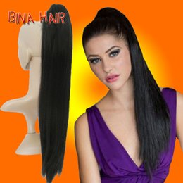 "Wholesale Blonde Claw Hair Extensions - ponytiail hair extension 24"" Long straight Claw Clip Drawstring Ponytail synthetic clip in natural blonde Hairpieces 1pieces wholesale"