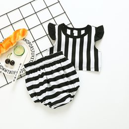 Wholesale Korean Kids Shirts - 2017 Korean style Summer new fashion new arrivals kids fly sleeve stripe T-shirt+ Lovely stripe shorts two pieces cotto sets free shipping