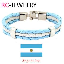 Wholesale Tin Cups Wholesale - 7# World Cup Argentina National Flag Leather Bracelets Bangles Trendy Bandage Charm Friendship Bracelet For Men.
