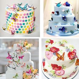 2019 decorazioni di compleanno di cupcake Farfalla commestibile Toppers Cupcake Wafer Torta nuziale Torta di compleanno Decorazione cibo Strumenti torta 20pcs / set IC648 sconti decorazioni di compleanno di cupcake