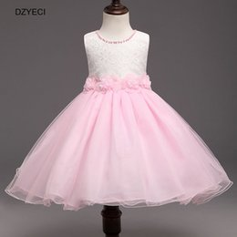Wholesale Carnival Costumes For Kids - Korean Pearl Floral Dresses For Baby Girl Bow Dress Carnival Costumes Children Ball Gown TUTU Party Clothes Deguisement Kid Bridesmaid