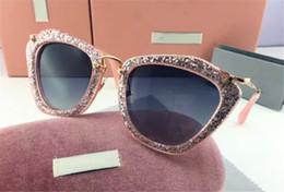 Wholesale Cat Butterfly Crystal - new smu sunglasses women brand designer sunglasses Mu10N cat eye frame bling sunglasses crystal metarial fashion women style butterfly frame
