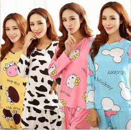 Wholesale Green Women Cat Suits - Wholesale- Hot sale, age season women long sleeve pajamas many cartoon kt cat milk silk pajamas leisurewear suit trousers