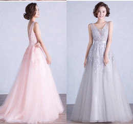 Wholesale Cheap Silk Yarns - Pink Long Water-Soluble Flowers Bead Evening Dresses Shoulder Yarn Tailing Dark Navy Lace Party Evening Dress Cheap Customization Gowns