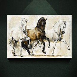 Wholesale Abstract Horse - Modern European Oil painting Three Black and white Elegant Horse Print on Canvas Wall Art Decor Canvas Poster Pictures for Living Room