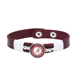 Wholesale Crimson Chain - Wholesale- Drop Shipping Adjustable Premium Leather Ginger Snaps Bracelet with a Alabama Crimson Tide 18mm Snap for Men,Women and Teens