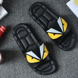 Wholesale Bronze Applique - New Fashion Men's Flat Casual Shoes Summer Peep Toe Sandals Beach shoes Man Cartoon monster slippers