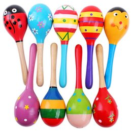 Wholesale Maracas Baby Toy - Wholesale- 1PC Colorful Baby Rattle Toys Wooden Maracas Ball Wood Hammer Rattles Infant Baby Percussion Rattles YLT01