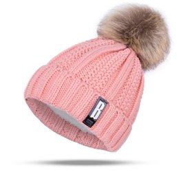 Wholesale Pom Blue - 2017 New Pom Poms Winter Hat for Women Fashion Solid Warm Hats Knitted Beanies Cap Brand Thick Female Cap 002