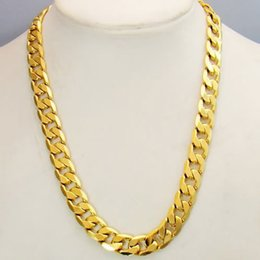Wholesale Curb Link Mens Gold Necklace - Classics 24k Real Yellow Solid Gold GF Mens Necklace 24inch Curb Link 10mm Jewelry HOT FREE SHIPPING