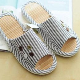 Wholesale Wholesale Gingham Fabric - Wholesale-2016 Good quality bamboo summer stripe bottom couple home shoes, cool slippers, advanced anti-skid slippers PU bottom