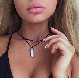 Wholesale Crystal Droplet Necklace - Collar Jewelry Double PU Leather Chain Crystal Natural Stone Droplets Choker Necklaces For Women Gifts 9 Colors HZ