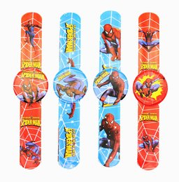 Wholesale Gifts For Baby Boy Party - Wholesale- 12PCS Hero Spider Man Slap Bracelets baby shower favors for boy birthday party decorations kids gift